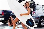 Female friends with surf boards, Hermosa Beach, California, USA