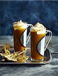 Warm Pumpkin Pie Cocktail and pumpkin seed crackers