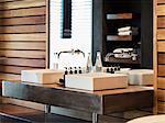 Sinks and mirror in modern bathroom