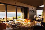 Modern living room overlooking ocean