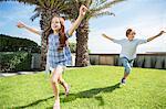 Children playing in backyard
