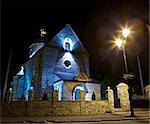 Trinity Church in Kamianets-Podilskyi, Ukraine, at night