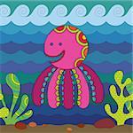 Stylize fantasy Octopus under water