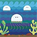 Stylize fantasy jellyfish under water.
