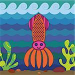 Stylize fantasy squid under water.