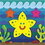 Stylize fantasy starfish under water.