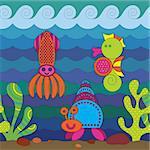 Stylize fantasy fish under water.