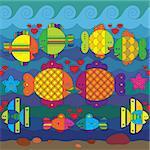 Amorous stylize fantasy fishes under water.