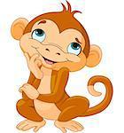 Illustration of thinking cartoon monkey