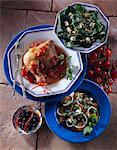 Mexican chicken feta salad spinach walnut and Stilton salad