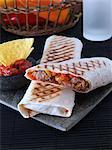 A pork and pepper hot tortilla wrap