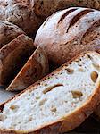 Rustic organic loaves of bread