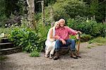 Portrait of senior couple sitting in garden