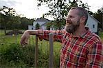 Portrait of mature man on herb farm