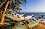 Traditional Sri Lanka fishing boats on Mirissa Beach, South Coast, Sri Lanka, Asia
