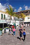 People walking on a promenade, Puerto de Mogan, Gran Canaria, Canary Islands, Spain, Europe