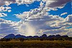 Sun's rays above The Olgas, Kata Tjuta, Red Centre, Northern Territory, Australia