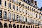Parisian architecture in Rue de Rivoli, Central Paris, France