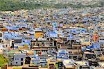 The blue buildings of Bundi, Rajasthan, India, Asia