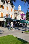 Church of St. Nicholas and cafes, Cavtat, Dubrovnik Riviera, Dalmatian Coast, Dalmatia, Croatia, Europe