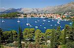View of Old Town and Adriatic coast, Cavtat, Dubrovnik Riviera, Dalmatian Coast, Dalmatia, Croatia, Europe