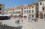 Stradun and Orlando's Column, Dubrovnik, Dalmatia, Croatia, Europe