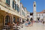Clocktower and cafe, Dubrovnik, Dalmatia, Croatia, Europe