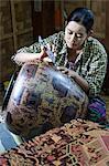 Engraving traditional lacquerware, Bagan, Central Myanmar, Myanmar (Burma), Asia