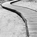 Boardwalk extending across Midway Geyser in Yellowstone National Park