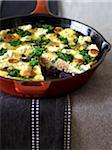 Sausage and Kale Frittata in Frying Pan, Studio Shot
