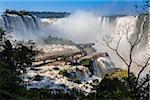 Scenic view of Iguacu Falls with footbridge, Iguacu National Park, Parana, Brazil
