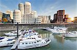 Neuer Zollhof, designed by Frank Gehry, Media Harbour (Medienhafen), Dusseldorf, North Rhine Wetphalia, Germany, Europe
