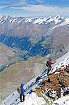 Climber on The Matterhorn, 4478m, Zermatt, Valais, Swiss Alps, Switzerland, Europe