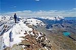 Climber on the summit of the Matterhorn, 4478m, Zermatt, Valais, Swiss Alps, Switzerland, Europe