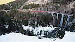 Landwasser Viaduct, Bernina Express railway line, UNESCO World Heritage Site, Graubunden, Swiss Alps, Switzerland, Europe