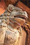 Lion statue, Durbar Square, Patan, UNESCO World Heritage Site, Kathmandu, Nepal, Asia