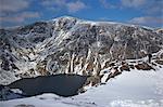 Llyn Cau and summit of Cader Idris in winter sun, Snowdonia National Park, Gwynedd, Wales, United Kingdom, Europe