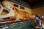 Reclining Buddha statue, Shwedagon Paya, Yangon (Rangoon), Myanmar (Burma), Asia