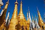 The 1045 stupas of Shwe Inn Thein temple, Inn Dein village, Inle Lake, Shan State, Myanmar (Burma), Asia