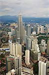 City and Petronas Towers, KLCC (Kuala Lumpur City Center), Kuala Lumpur, Malaysia, Southeast Asia, Asia