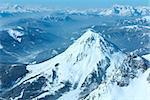 Winter hazy veiw from Dachstein mountain massif top to Schladming and Filzmoos region (Austria).