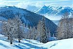 Winter hazy veiw from Dachstein mountain massif (Austria).