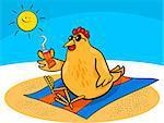 Cartoon Illustration of Chicken or Hen on the Beach with Suntan Cream