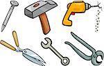 Cartoon Illustration of Tools Objects Clip Art Set