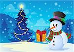 Christmas snowman theme image 1 - eps10 vector illustration.