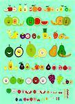 Cute Smile Cartoon of Various Fruits including Apple, Pear, Grapefruit, Orange, Lemon, Lime, Melon, Watermelon, Cantaloupe, Banana, Mangosteen, Kiwi, Pineapple, Mango, Durian, Jackfruit, Papaya, Starfruit, Avocado, Peach, Fig, Pomegranate, Coconut, Grape, Plum, Cherimoya, Lychee, Rambutan, Longan, Cherry, Date, Blackberry, Blueberry, Raspberry, Strawberry, Cranberry, Alkekengi, Redcurrant, and Bla