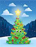 Christmas tree theme 4 - eps10 vector illustration.