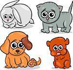 Cartoon Illustration of Cute Little Baby Pets Animals Set