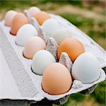 A dozen brown and white eggs in an egg carton