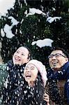Family enjoying a snowy day